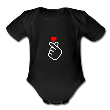 Load image into Gallery viewer, Organic Short Sleeve Baby Bodysuit, Finger Heart - black