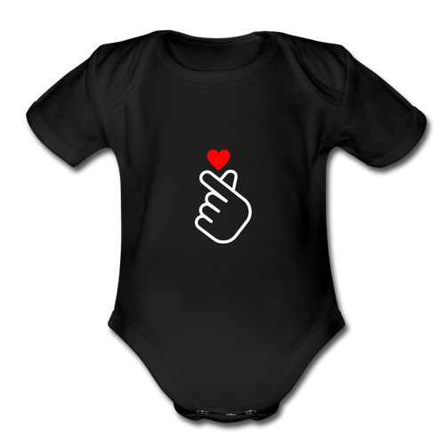 Organic Short Sleeve Baby Bodysuit, Finger Heart - black
