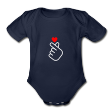 Load image into Gallery viewer, Organic Short Sleeve Baby Bodysuit, Finger Heart - dark navy