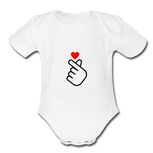 Load image into Gallery viewer, Organic Short Sleeve Baby Bodysuit, Finger Heart - white