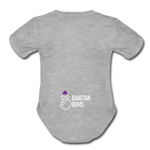 Organic Short Sleeve Baby Bodysuit, Bangtan Bums - heather gray