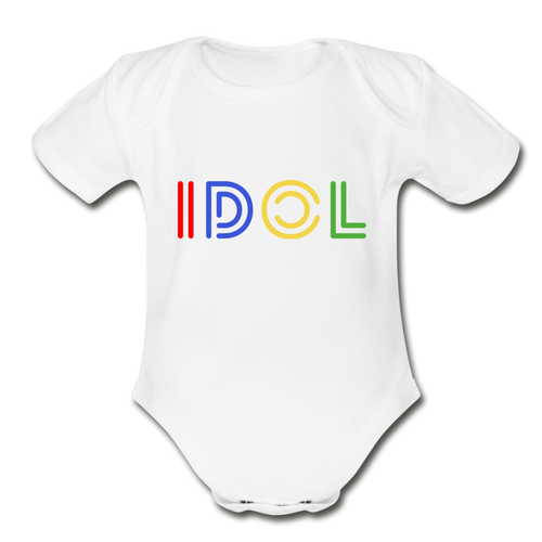 Organic Short Sleeve Baby Bodysuit, IDOL - white