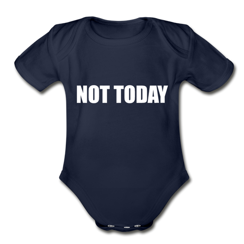 Organic Short Sleeve Baby Bodysuit, Not Today - dark navy