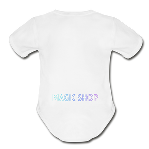 Organic Short Sleeve Baby Bodysuit, Magic Shop - white