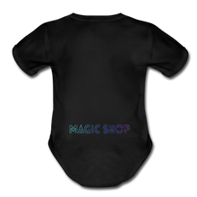 Load image into Gallery viewer, Organic Short Sleeve Baby Bodysuit, Magic Shop - black