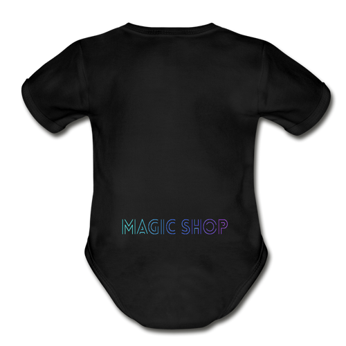 Organic Short Sleeve Baby Bodysuit, Magic Shop - black