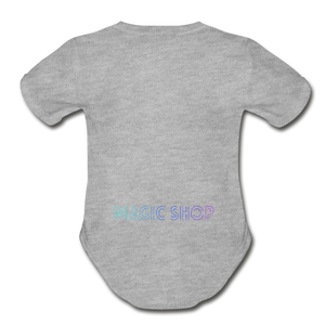 Organic Short Sleeve Baby Bodysuit, Magic Shop - heather gray