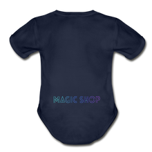 Load image into Gallery viewer, Organic Short Sleeve Baby Bodysuit, Magic Shop - dark navy