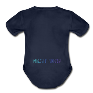 Organic Short Sleeve Baby Bodysuit, Magic Shop - dark navy