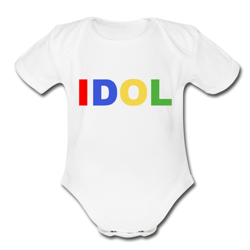 Organic Short Sleeve Baby Bodysuit, Bold IDOL - white