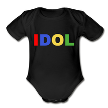 Load image into Gallery viewer, Organic Short Sleeve Baby Bodysuit, Bold IDOL - black
