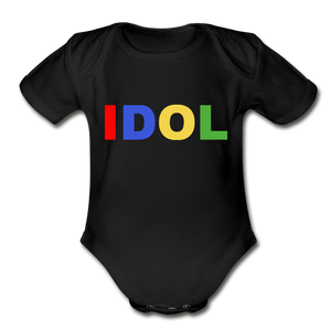 Organic Short Sleeve Baby Bodysuit, Bold IDOL - black