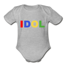 Load image into Gallery viewer, Organic Short Sleeve Baby Bodysuit, Bold IDOL - heather gray