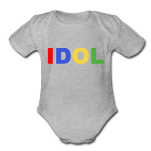 Organic Short Sleeve Baby Bodysuit, Bold IDOL - heather gray