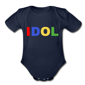 Organic Short Sleeve Baby Bodysuit, Bold IDOL - dark navy