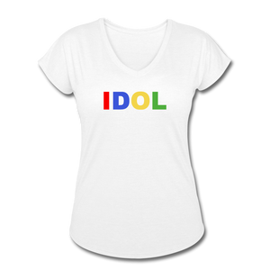 Women's Tri-Blend V-Neck T-Shirt, Bold IDOL - white