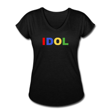 Load image into Gallery viewer, Women's Tri-Blend V-Neck T-Shirt, Bold IDOL - black