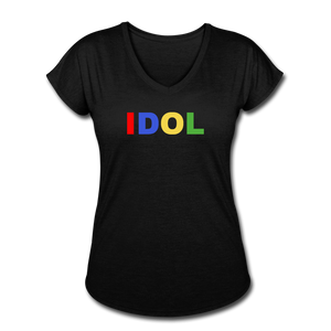 Women's Tri-Blend V-Neck T-Shirt, Bold IDOL - black