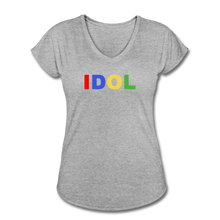 Load image into Gallery viewer, Women's Tri-Blend V-Neck T-Shirt, Bold IDOL - heather gray