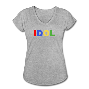 Women's Tri-Blend V-Neck T-Shirt, Bold IDOL - heather gray