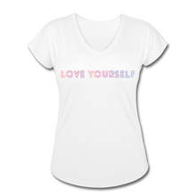 Load image into Gallery viewer, Women's Tri-Blend V-Neck T-Shirt, Love Yourself - white