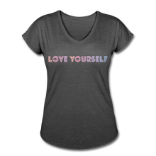 Load image into Gallery viewer, Women's Tri-Blend V-Neck T-Shirt, Love Yourself - deep heather