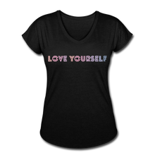 Load image into Gallery viewer, Women's Tri-Blend V-Neck T-Shirt, Love Yourself - black
