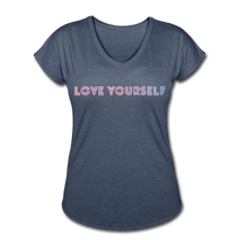 Load image into Gallery viewer, Women's Tri-Blend V-Neck T-Shirt, Love Yourself - navy heather