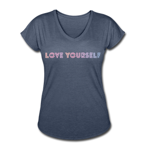 Women's Tri-Blend V-Neck T-Shirt, Love Yourself - navy heather