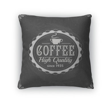 Throw Pillow, Coffee Label On Chalkboard - Coach Rock