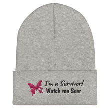 Load image into Gallery viewer, I'm a Breast Cancer Survivor Cuffed Beanie - Coach Rock