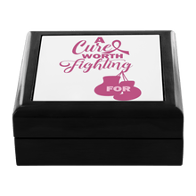 Load image into Gallery viewer, Breast Cancer, A Cure Worth Fighting Jewelry Box - Coach Rock