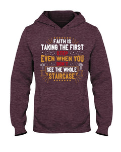Faith is Taking the First Step Hoodie - Coach Rock