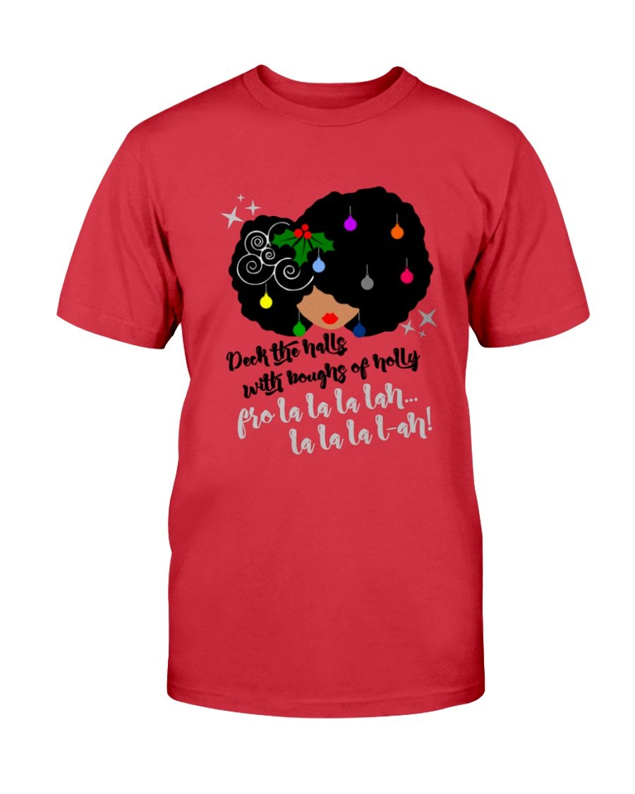 Deck The Halls Fro Lady T-Shirt - Coach Rock