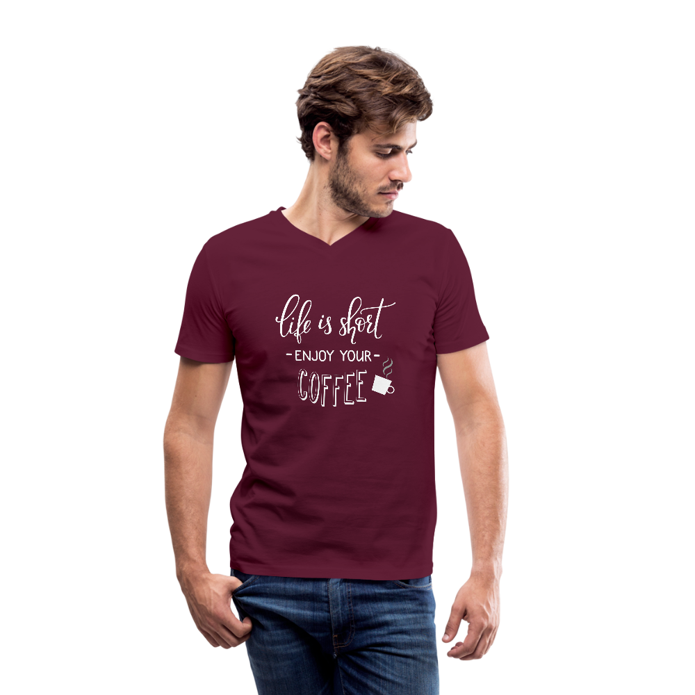 Life is Short Enjoy Your Coffee V-Neck T-Shirt - Coach Rock