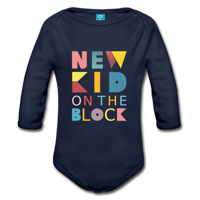 New Kid On the Block Organic Long Sleeve Baby Bodysuit - Coach Rock