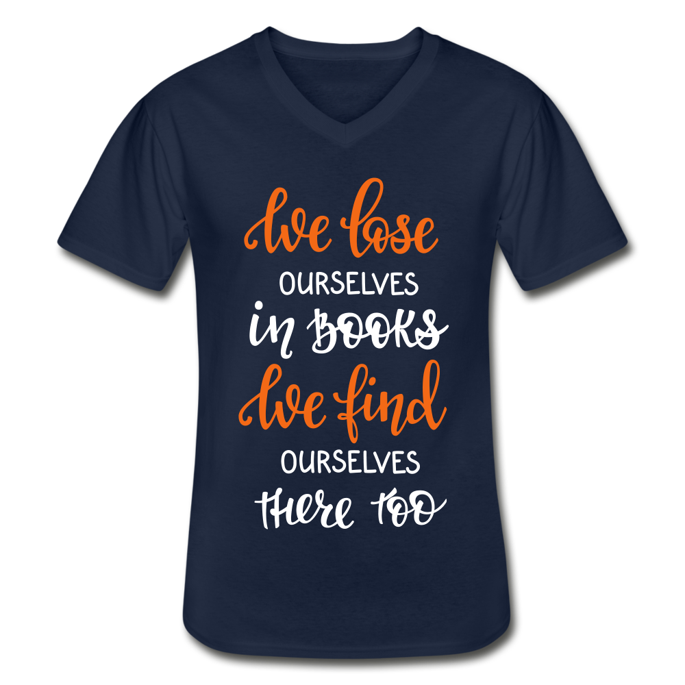 We Lose Ourselves in Books  V-Neck T-Shirt (Unisex) - Coach Rock
