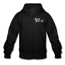 Load image into Gallery viewer, Never Give Up! Heavy Blend Youth Zip Hoodie - Coach Rock