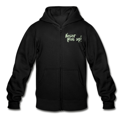 Never Give Up! Heavy Blend Youth Zip Hoodie - Coach Rock