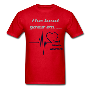 "Heart Disease Awareness 'The Beat Goes On"" Adult T-Shirt - Coach Rock"