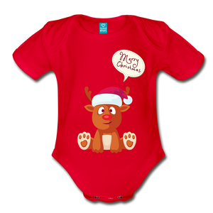 Reindeer Merry Christmas Organic Short Sleeve Baby Bodysuit - Coach Rock