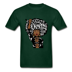 I am Happy Not Nappy T-Shirt (Unisex) - forest green
