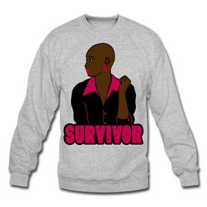 Bald Breast Cancer Survivor Crewneck Sweatshirt - heather gray