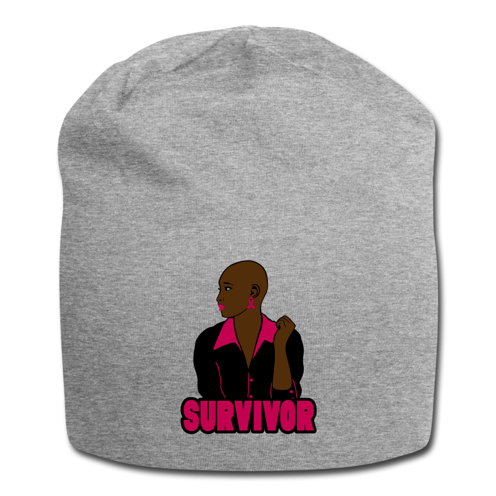Breast Cancer Survivor Beanie - heather gray
