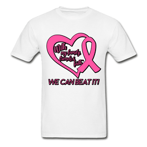 With My Family We Can Beat It Breast Cancer Adult T-Shirt - white