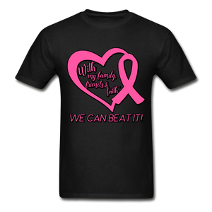 With My Family We Can Beat It Breast Cancer Adult T-Shirt - black