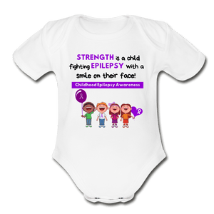 Child Epilepsy Awareness Baby Bodysuit - white