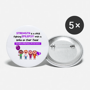Childhood Epilepsy Buttons large 2.2'' (5-pack) - white