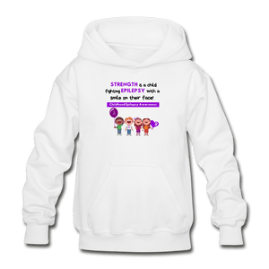 Support Childhood Epilepsy Youth Hoodie - white
