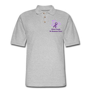 I Wear Purple for Someone Love Polo Shirt - heather gray